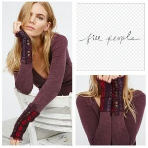 Free People Embroidered Cuff Henley Thermal